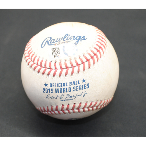 Photo of Game-Used Baseball: 2019 World Series - Game 7: Pitcher: Patrick Corbin, Batter: Yuli Gurriel (Single) - Bot 7