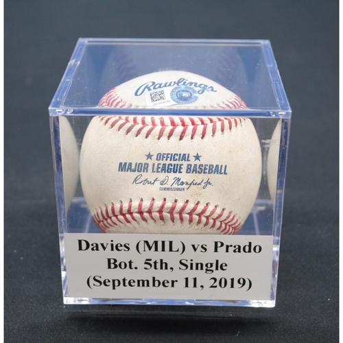 Photo of Game-Used Baseball: Zach Davies (MIL) vs Martin Prado, Bot. 5th, Single - September 11, 2019