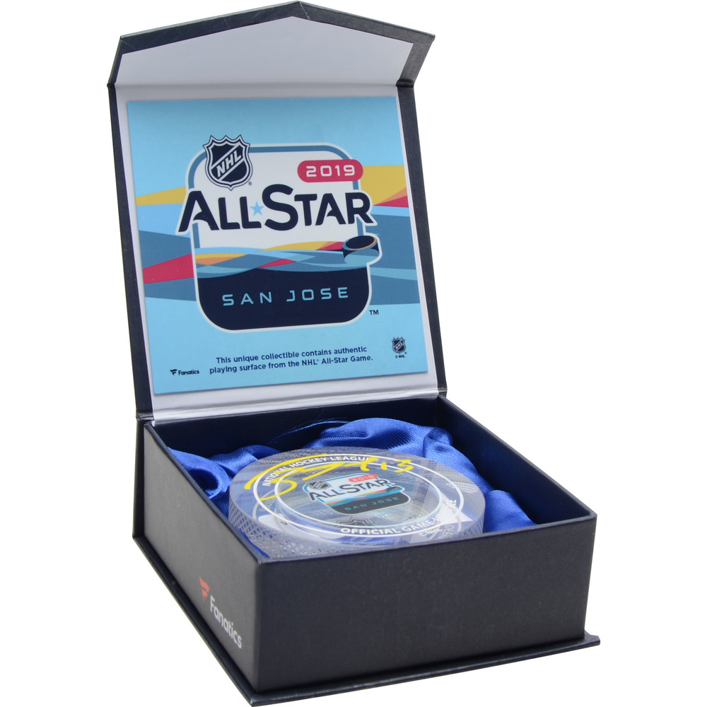Mathew Barzal New York Islanders Autographed 2019 NHL All-Star Game Crystal Puck Filled with Ice from The 2019 NHL All-Star Game - NHL Auctions Exclusive