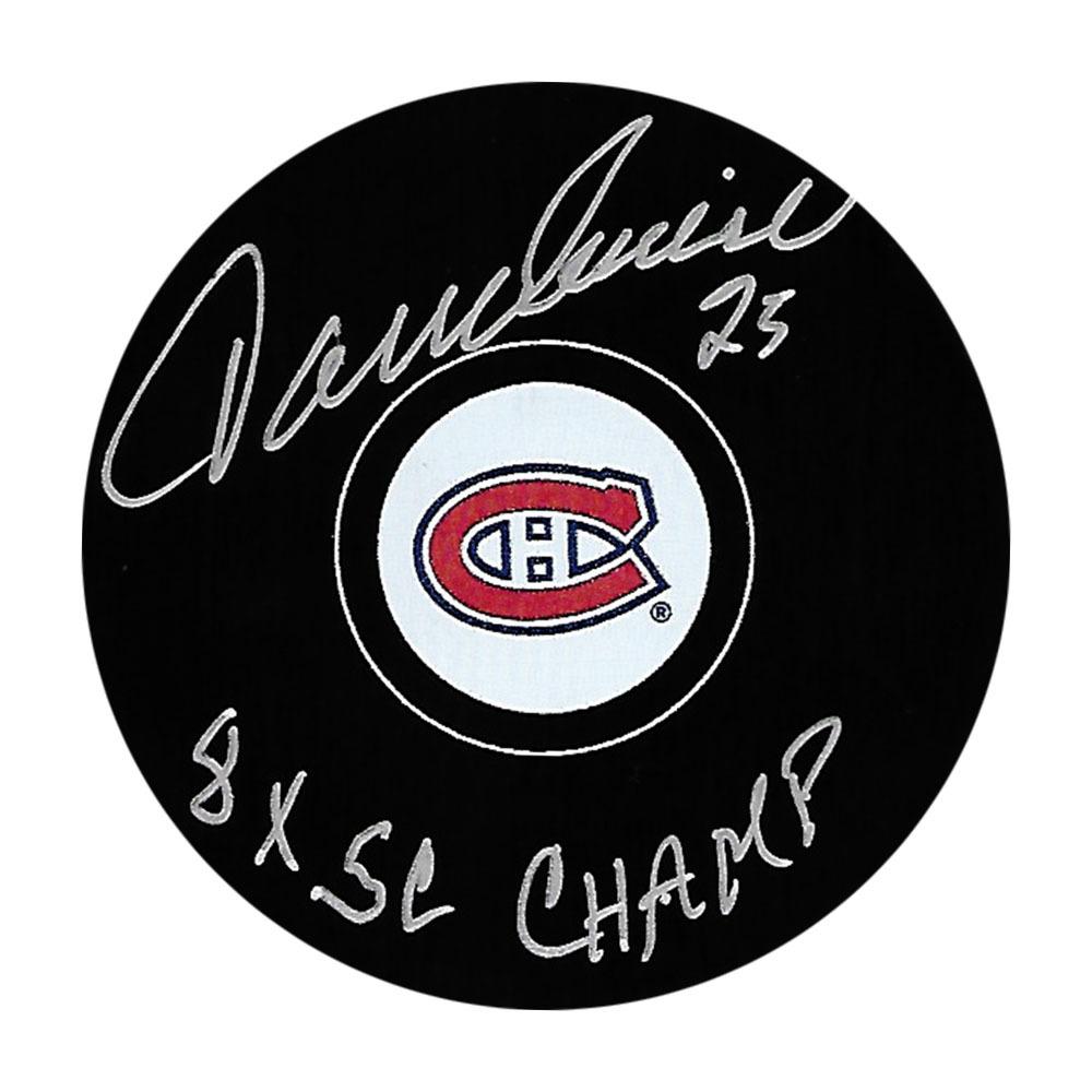 Jacques Lemaire Autographed Montreal Canadiens Puck w/8XSC CHAMP Inscription