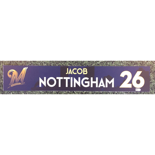 Photo of Jacob Nottingham 2018 Team-Issued Locker Nameplate
