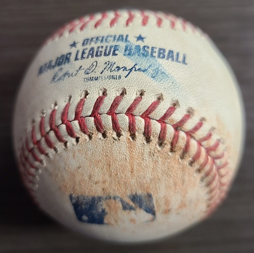 Photo of Authenticated Game Used Baseball: Single by George Springer and Double by Vladimir Guerrero Jr. against Jean Carlos Mejia (Aug 4, 2021 vs CLE). Bottom 2.