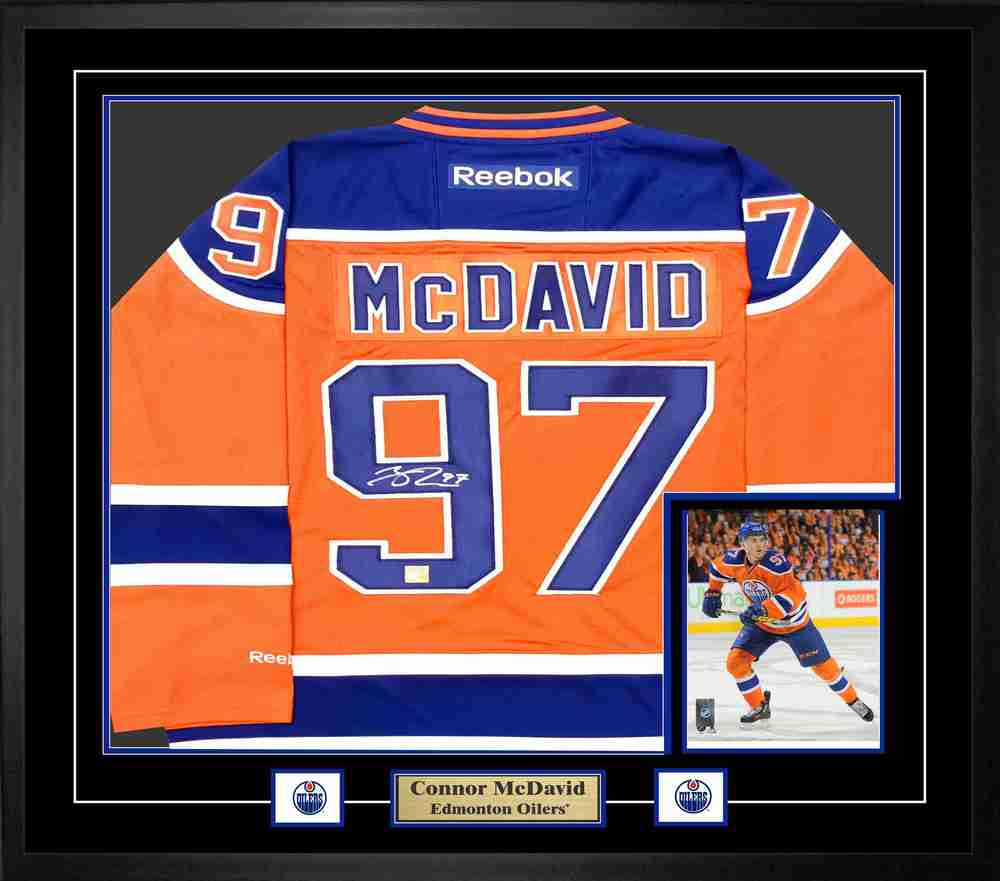 low priced 42736 6568e Connor McDavid - Signed & Framed Edmonton Oilers Orange ...