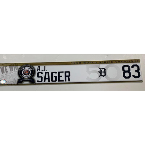 Photo of Team-Issued 1968 50th Anniversary Locker Name Plate: A.J. Sager
