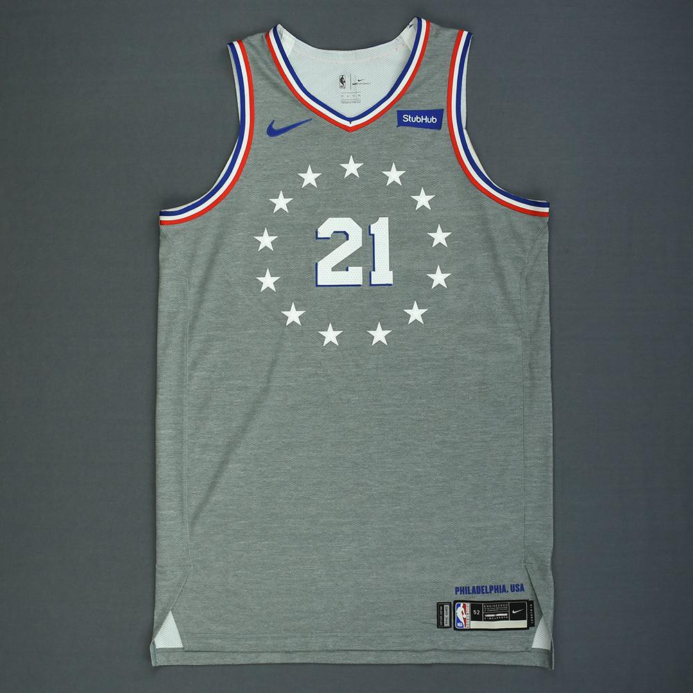 best website d5366 685a0 Joel Embiid - Philadelphia 76ers - Game-Worn City Edition ...