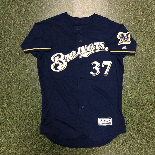 Photo of Adrian Houser 2018 Game-Used Navy Alternate Jersey