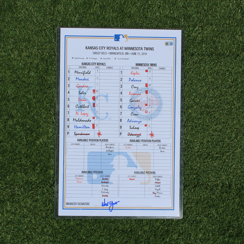Photo of Game-Used Line-Up Card: Mauer Day - Joe Mauer Number Officially Retired (KC @ MIN - 6/15/19)