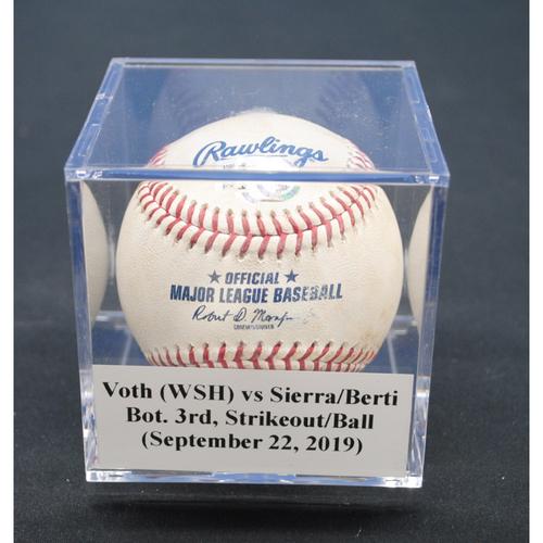Photo of Game-Used Baseball: Austin Voth (WSH) vs Magneuris Sierra/Jon Berti, Bot. 3rd, Strikeout/Ball - September 22, 2019