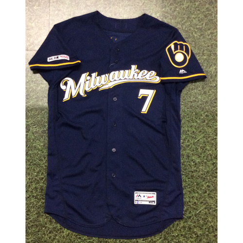 Photo of Eric Thames 09/22/19 Game-Used Navy Ball & Glove Jersey - 2 HR Game