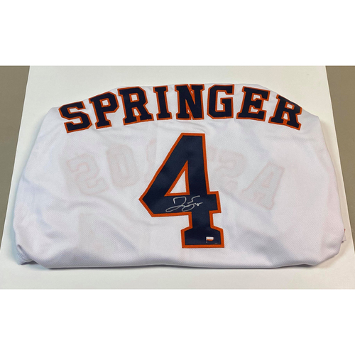 Photo of George Springer Autographed Authentic White Houston Astros Jersey