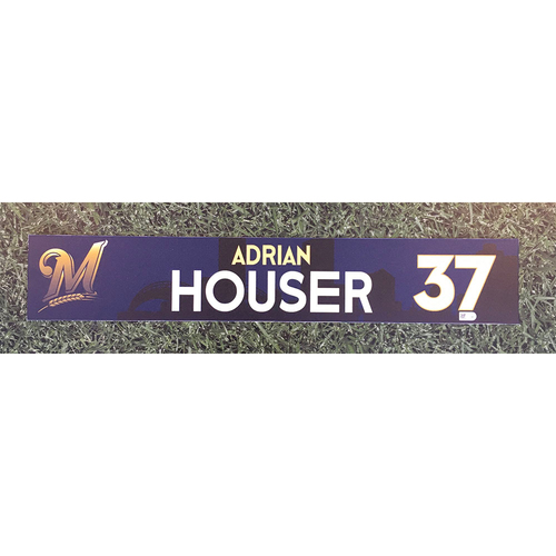 Photo of Adrian Houser 2018 Team-Issued Locker Nameplate