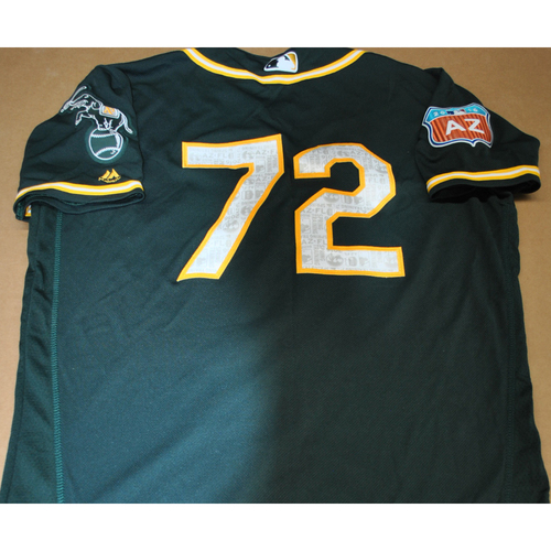 Photo of Game-Used 2016 Spring Training Jersey - Dillon Overton - Size 44 - Oakland Athletics