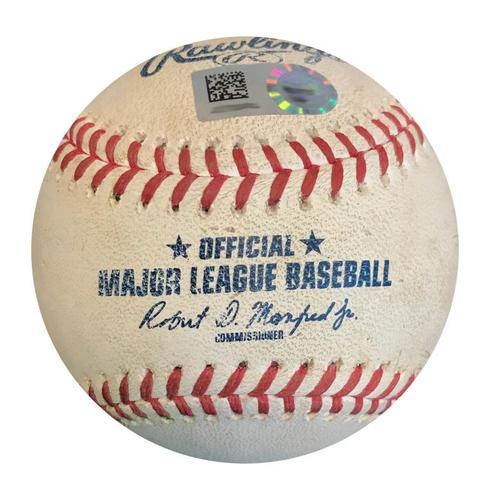 Photo of Game-Used Baseball from Pirates vs. Giants on 5/12/18 - Evan Longoria Single