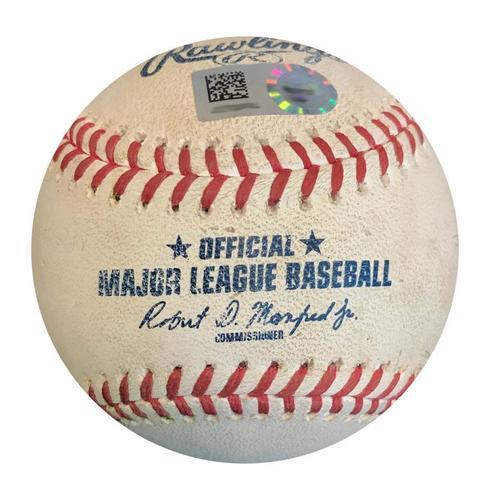 Photo of Game-Used Baseball from Pirates vs. Giants on 5/12/18 - Evan Longoria Single