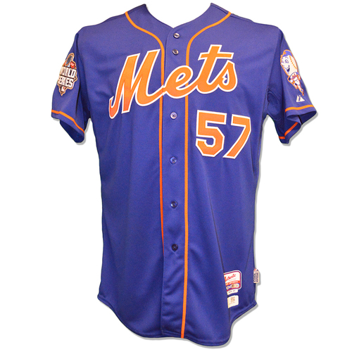 Photo of Kevin Long #57 - Game Used Road Grey Jersey - Worn During World Series Game 5 - Mets vs. Royals - 11/1/15