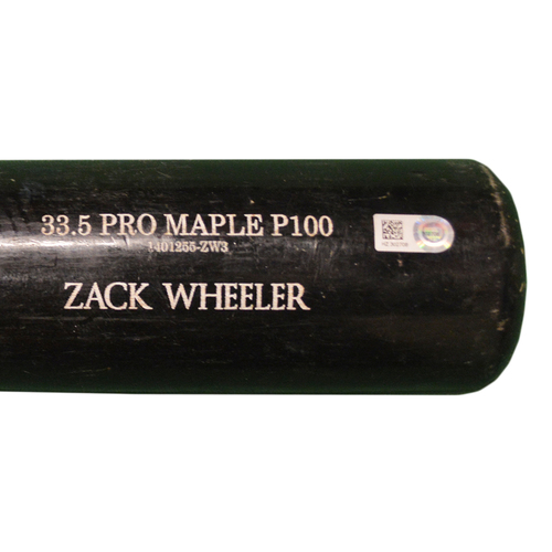 Photo of Zack Wheeler #45 - Team Issued Full Black Old Hickory Bat - 2016 Season