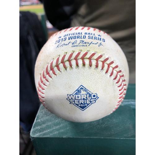 Photo of Game-Used Baseball: 2019 World Series - Game 4: Pitcher: Patrick Corbin, Batter: Yuli Gurriel (Infield Single - RBI) - Top 1