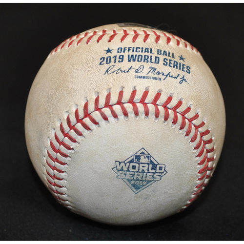 Photo of Game-Used Baseball: 2019 World Series - Game 4: Pitcher: Brad Peacock, Batter: Trea Turner (Foul) - Bot 7