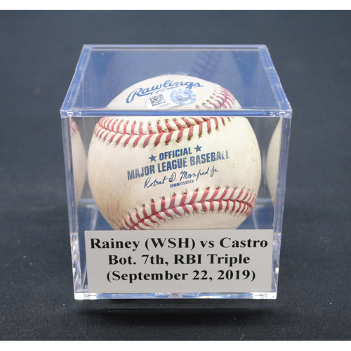 Game-Used Baseball: Tanner Rainey (WSH) vs Starlin Castro, Bot. 7th, RBI Triple - September 22, 2019