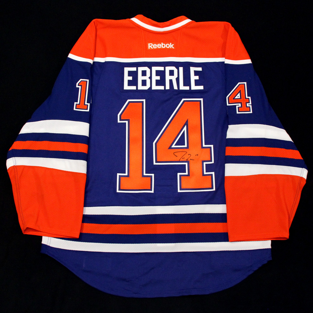 1ca27fcb68f Jordan Eberle #14 - Autographed 2014-15 Edmonton Oilers vs Tampa Bay  Lightning Game Worn Jersey