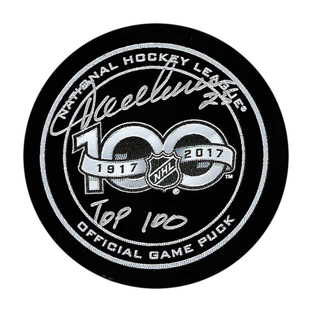 Jacques Lemaire Autographed NHL 100 Official Game Puck w/TOP 100 Inscription