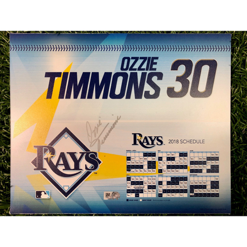 Photo of Game Used Autographed Locker Tag: Ozzie Timmons - First Opening Day as Rays First Base Coach - March 29, 2018 v BOS