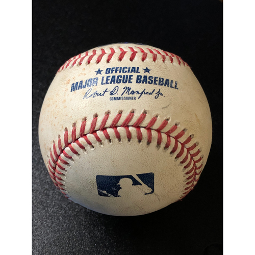 Photo of Game-Used Baseball - 2020 NLCS - Atlanta Braves vs. Los Angeles Dodgers - Game 1 - Pitcher: Blake Treinen, Batter: Ronald Acuna Jr. (Double, Launch Speed: 105.8 MPH) - Top 9