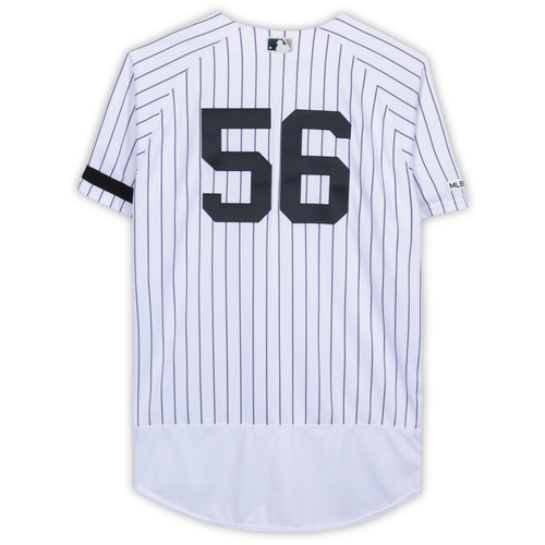 Photo of Jonathan Holder New York Yankees Game-Used #56 White Pinstripe Jersey vs. Baltimore Orioles on March 28, 2019 - Size 48