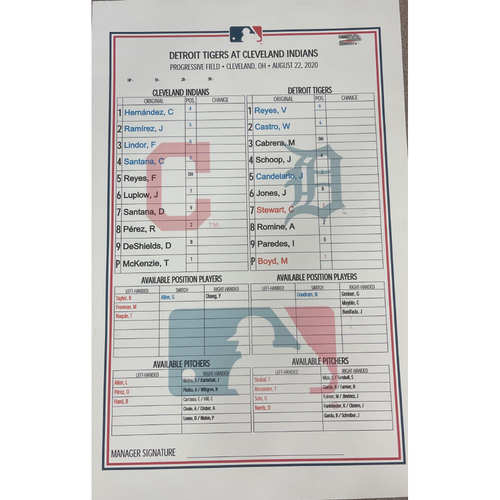 Photo of Team Issued Line-up Card 8/22/2020 - Triston McKenzie #26 Major League Debut - Tigers at Indians
