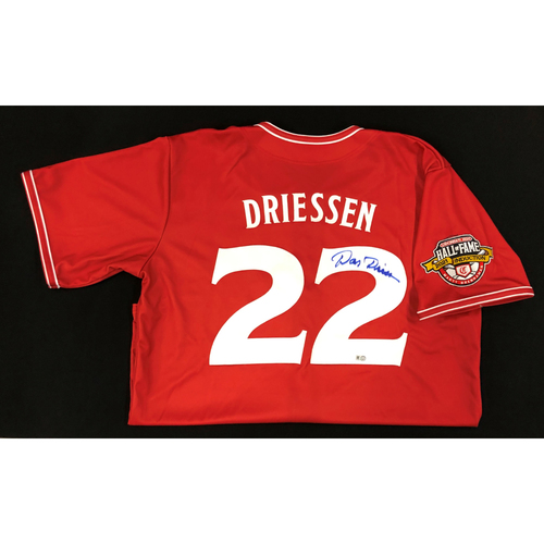 Photo of Dan Driessen AUTOGRAPHED Game Used Jersey: Reds Hall of Fame Legends Game