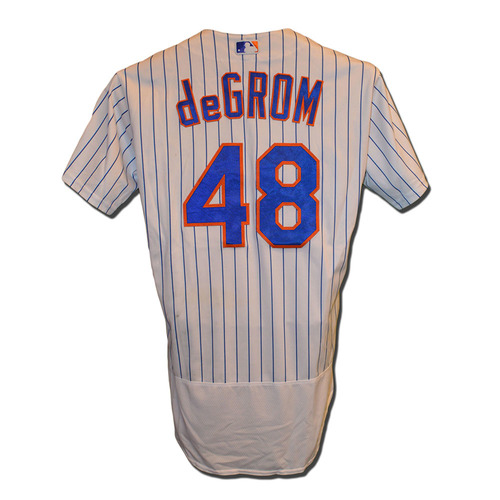 Photo of Jacob deGrom #48 - Game Used White Pinstripe Jersey - deGrom 7 IP, 9 K's - Mets vs. Padres - 8/13/16