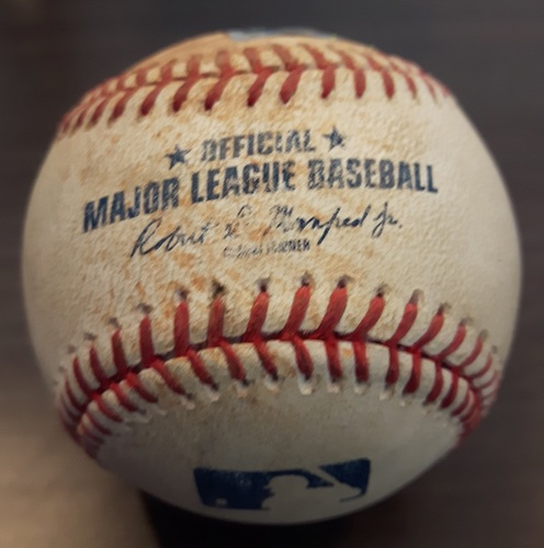 Photo of Authenticated Game Used Baseball - August 28, 2017: Single by Andrew Benintendi against Marcus Stroman (Top 1)