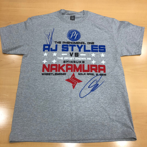 Photo of AJ Styles & Shinksuke Nakamura SIGNED WrestleMania 34 Matchup T-Shirt