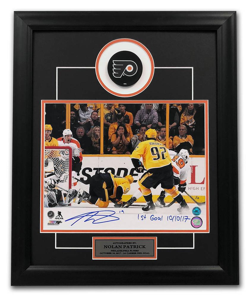Nolan Patrick Philadelphia Flyers Signed & Dated 1st Goal 19x23 Puck Frame #/19
