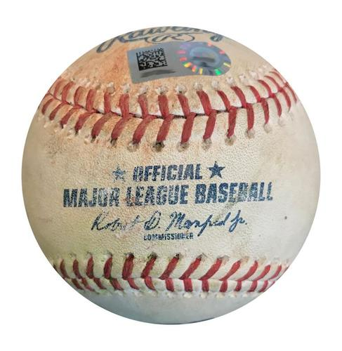 Photo of Game-Used Baseball from Pirates vs. Giants on 5/13/18 - Jose Osuna Single