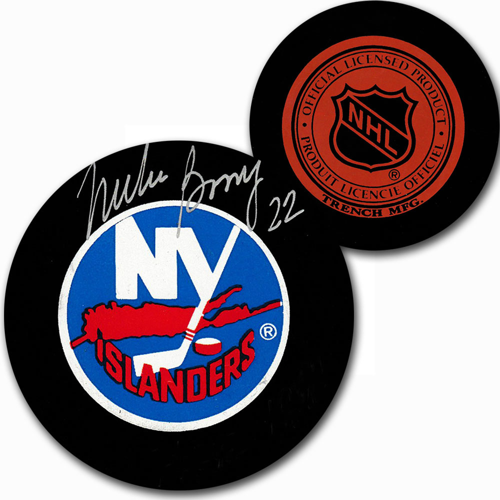 Mike Bossy Autographed New York Islanders Vintage Trench Puck