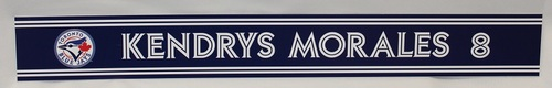 Photo of Authenticated Game Used 2018 Locker Name Plate - #8 Kendrys Morales