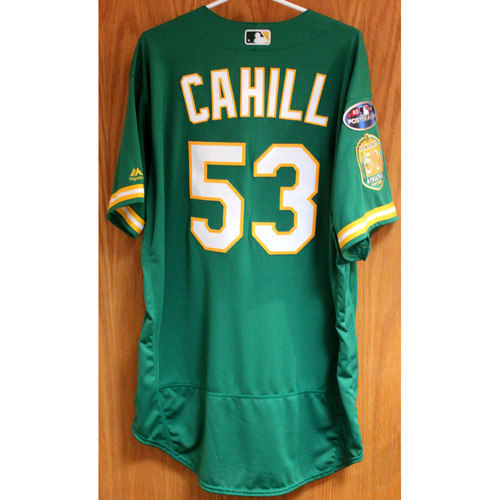 Photo of Team Issued Trevor Cahill 2018 Jersey w/ Postseason Patch