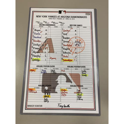 Photo of CC Sabathia 3,000 Strikeout Game - Game-Used Lineup Card