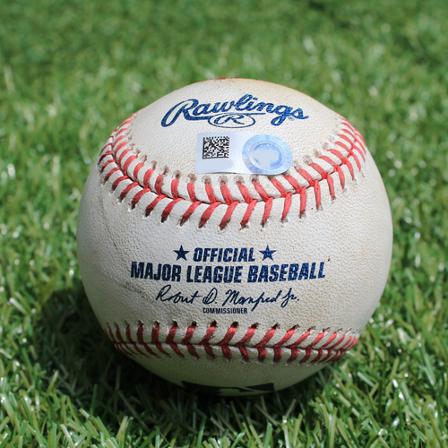 Game-Used Baseball: Eddie Rosario 608th Career Hit and 292nd Career RBI (MIN @ KC - 6/21/19)
