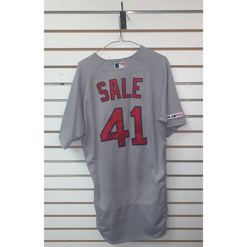 Photo of Chris Sale Game Used July 23, 2019 Road Jersey - Win, 10ks - 5th Win of the Season