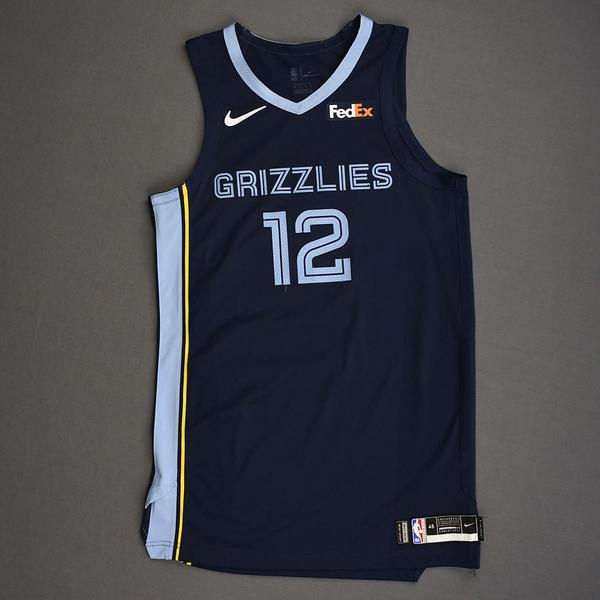 Image of Ja Morant - Memphis Grizzlies - Kia NBA Tip-Off 2019 - Game-Worn Icon Edition Jersey - NBA Debut (2nd Overall Draft Pick)