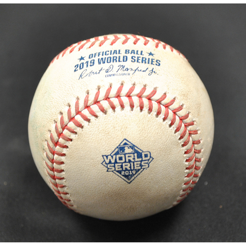 Photo of Game-Used Baseball - 2019 World Series - Washington Nationals vs. Houston Astros - Batter - Anthony Rendon, Pitcher - Zack Greinke - Bottom 1 - Double to LF - Game 3 - 10/25/2019