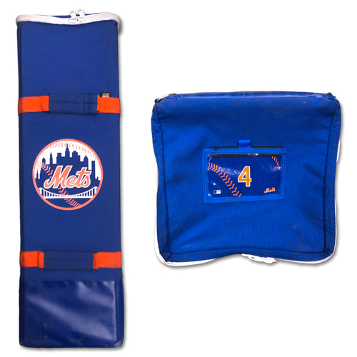 Photo of Jed Lowrie #4 - Game-Used Bat Bag - Final Regular Season Game of 2019 - Mets vs. Braves - 9/29/19