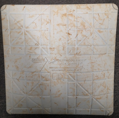 Photo of Authenticated Game Used Base - 2nd Base for Innings 6 to 9 (Apr 6, 14 vs NYY). Jeter ties and Passes Molitor on All-Time Hit List (Hits #3319 and 3320)