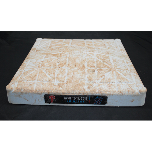 Photo of Game-Used Base: Phillies @ Marlins - 1st Base, 1st - 3rd Innings - April 12, 2019