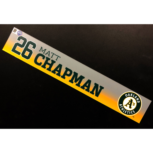 Photo of Game-Used 2020 Spring Training Locker Nameplate - Matt Chapman