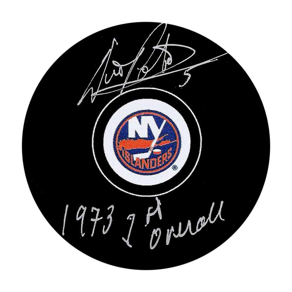 Denis Potvin Autographed New York Islanders Puck w/1973 1ST OVERALL Inscription