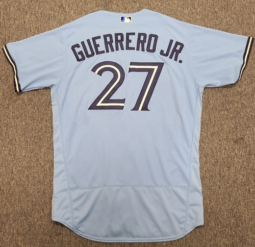 Photo of Authenticated Game Used Jersey: #27 Vladimir Guerrero Jr. (Sep 3, 2021 vs OAK): 3-for-4 with 2 Runs and 1 RBI. Size 48