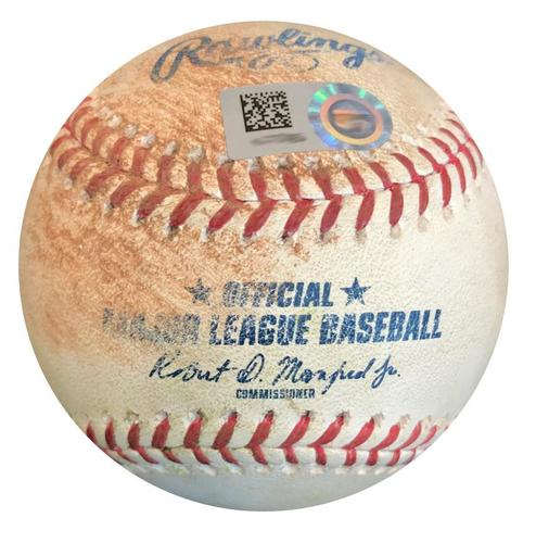 Photo of Game-Used Baseball from Pirates vs. Padres on 5/17/18 - Eric Lauer Double (1st Career)